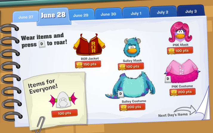 club penguin monsters university takeover items june 28