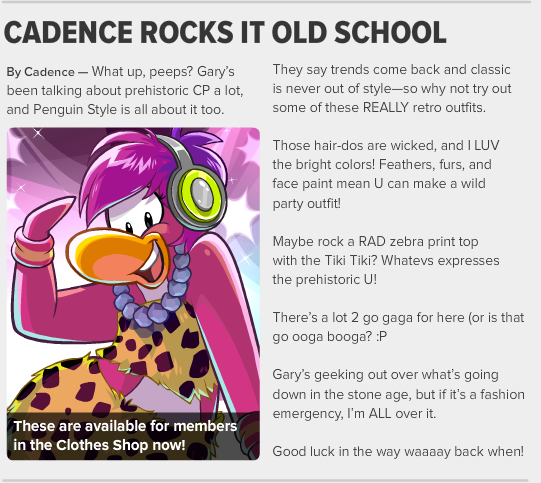 club penguin cadence rocks it old school