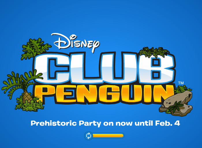 club penguin prehistoric party loading screen