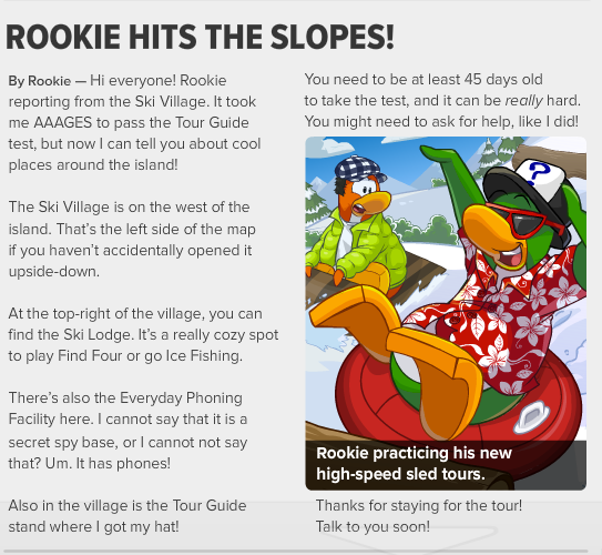 club penguin times issue 428 rookie hits the slopes