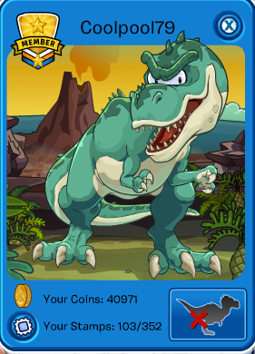 club penguin t-rex playercard