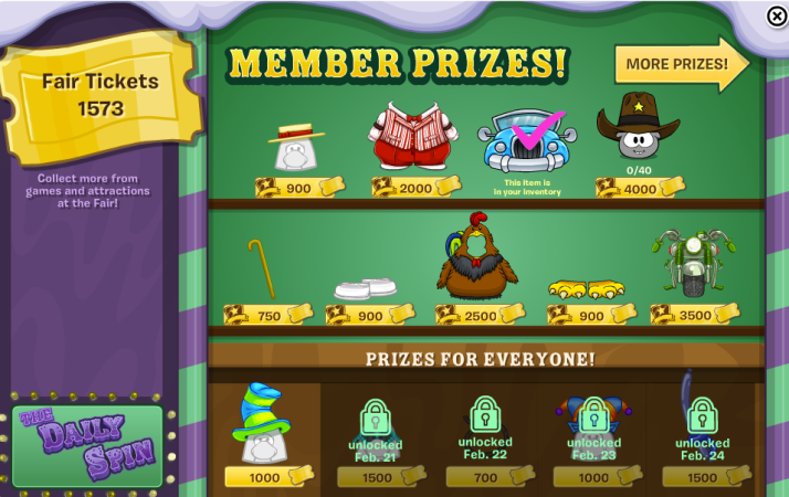 club penguin fair member prizes